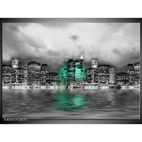 Foto canvas schilderij Stad | Groen, Grijs, Wit