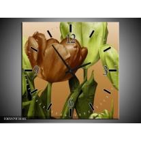 Wandklok op Canvas Tulp | Groen, Bruin, Wit | F005979C