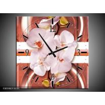 Wandklok op Canvas Orchidee | Kleur: Wit, Rood | F005982C