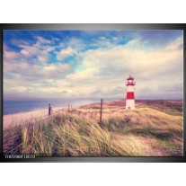 Foto canvas schilderij Strand | Blauw, Rood