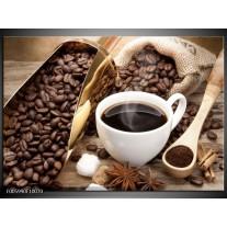 Foto canvas schilderij Koffie | Bruin, Wit, Goud