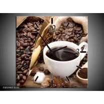 Wandklok op Canvas Koffie | Kleur: Bruin, Wit, Goud | F005990C