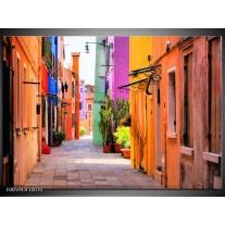 Foto canvas schilderij Venetie | Oranje, Paars, Blauw
