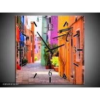 Wandklok op Canvas Venetie | Kleur: Oranje, Paars, Blauw | F005993C