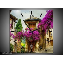Wandklok op Canvas Natuur | Kleur: Paars, Creme | F005998C