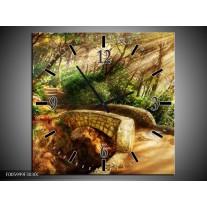 Wandklok op Canvas Natuur   Kleur: Bruin, Groen   F005999C