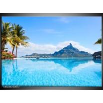 Glas schilderij Vakantie | Blauw, Groen, Wit