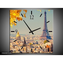 Wandklok op Canvas Parijs | Kleur: Oranje, Bruin | F006008C