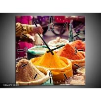 Wandklok op Canvas Kruinden | Kleur: Oranje, Bruin, Geel | F006009C