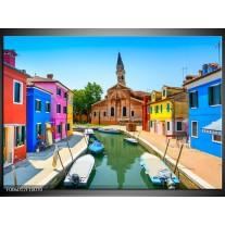 Foto canvas schilderij Venetie | Blauw, Rood, Roze