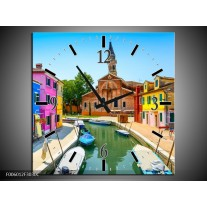Wandklok op Canvas Venetie | Kleur: Blauw, Rood, Roze | F006012C