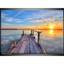 Glas schilderij Zonsondergang | Geel, Blauw, Grijs