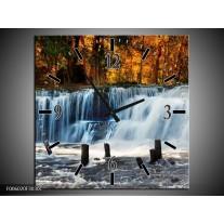 Wandklok op Canvas Waterval   Kleur: Grijs, Bruin   F006020C