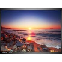 Foto canvas schilderij Zonsondergang | Rood, Oranje, Grijs