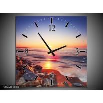 Wandklok op Canvas Zonsondergang | Kleur: Rood, Oranje, Grijs | F006028C