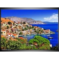 Foto canvas schilderij Uitzicht | Blauw, Oranje