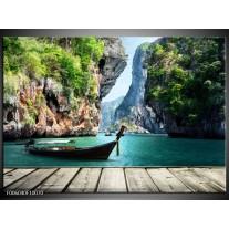 Foto canvas schilderij Boot | Groen, Blauw