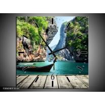 Wandklok op Canvas Boot | Kleur: Groen, Blauw | F006040C