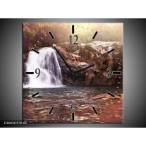 Wandklok op Canvas Waterval | Kleur: Bruin, Wit | F006042C