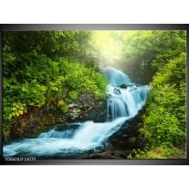 Foto canvas schilderij Waterval | Groen, Grijs