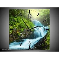 Wandklok op Canvas Waterval | Kleur: Groen, Grijs | F006043C