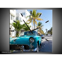 Wandklok op Canvas California | Kleur: Groen, Blauw, Wit | F006044C
