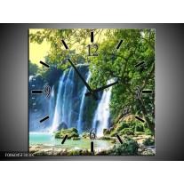 Wandklok op Canvas Waterval | Kleur: Groen, Blauw, Grijs | F006045C