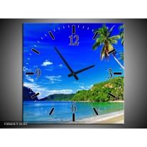 Wandklok op Canvas Vakantie   Kleur: Blauw, Groen   F006047C