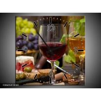 Wandklok op Canvas Wijn | Kleur: Groen, Bruin | F006054C