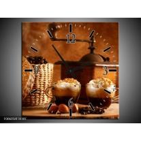 Wandklok op Canvas Koffie | Kleur: Bruin | F006058C