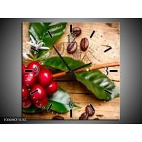 Wandklok op Canvas Keuken | Kleur: Rood, Groen, Bruin | F006060C