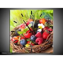 Wandklok op Canvas Fruit | Kleur: Groen, Rood | F006061C
