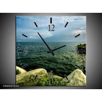 Wandklok op Canvas Zee | Kleur: Grijs, Groen | F006064C