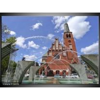 Glas schilderij Kerk | Blauw, Grijs, Bruin