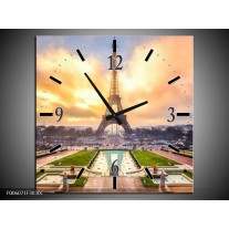 Wandklok op Canvas Eiffeltoren   Kleur: Grijs, Bruin, Groen   F006071C