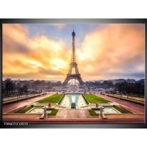 Glas schilderij Eiffeltoren | Grijs, Bruin, Groen