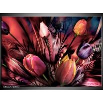 Foto canvas schilderij Tulpen | Roze, Paars