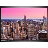 Foto canvas schilderij Wolkenkrabber | Paars, Roze
