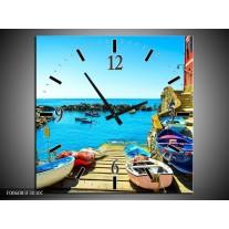 Wandklok op Canvas Venetie | Kleur: Blauw, Rood | F006083C