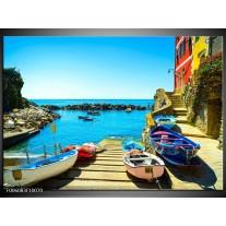 Glas schilderij Venetië   Blauw, Rood