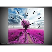 Wandklok op Canvas Boom   Kleur: Paars, Roze, Grijs   F006084C