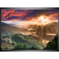 Foto canvas schilderij Bergen | Oranje, Groen