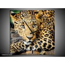 Wandklok op Canvas Luipaard | Kleur: Bruin, Zwart | F006093C