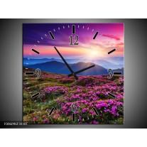 Wandklok op Canvas Natuur | Kleur: Paars, Roze, Blauw | F006096C