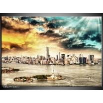 Foto canvas schilderij Wolkenkrabber | Geel, Groen, Grijs