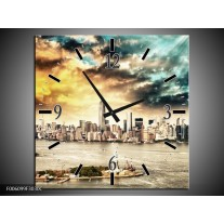 Wandklok op Canvas Wolkenkrabber | Kleur: Geel, Groen, Grijs | F006099C
