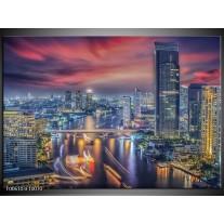 Foto canvas schilderij Wolkenkrabber | Blauw, Rood, Grijs
