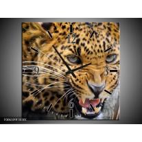 Wandklok op Canvas Luipaard | Kleur: Bruin, Zwart | F006109C