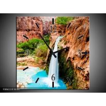 Wandklok op Canvas Waterval | Kleur: Blauw, Bruin | F006113C