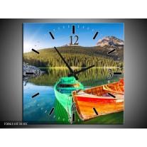 Wandklok op Canvas Bergen | Kleur: Oranje, Groen | F006114C